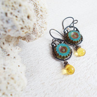 Translucent teal daisies, primitive czech glass dangle earrings, wire wrapped artisan jewelry, mottled drops, aqua green, mixed earth tones