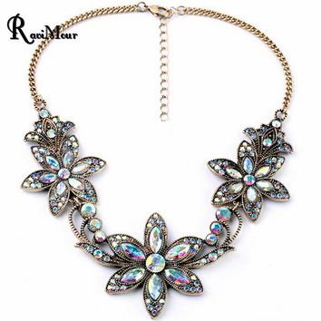 Fashion Vintage Statement Women Necklace 2016 New Crystal Bauhinia Flower Necklaces & Pendants Maxi Choker Collares Jewelry