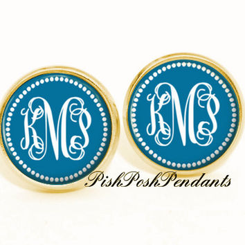 Ocean Blue Monogram Earrings -  Stud Earrings - Bridesmaid Gift - Style 548