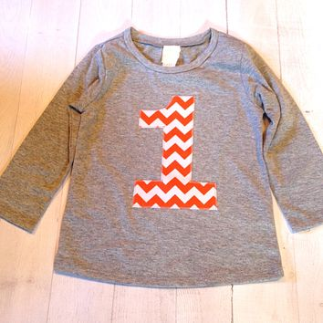 Orange Chevron Birthday Shirt Long Sleeve heather grey Biggie Chevron Number or Any Birthday 1 2 3 4 5 6 7 8 9 cotton 2nd two boys girl