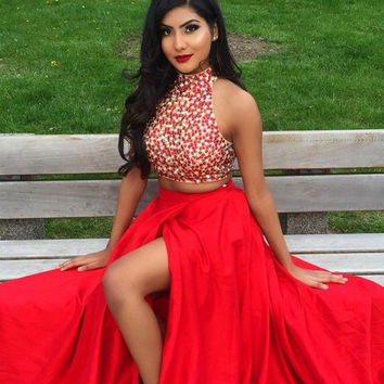 High Neck Red Crystal Two Piece Prom Dresses