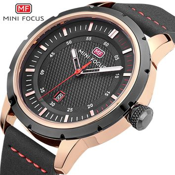 MINIFOCUS Luxury Brand Date Japan Movt Men Quartz Casual Watch Army Military Sports Watch Men Watches Male Leather Clock 2018