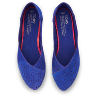 Blue Perforated Suede Women's Jutti Flats