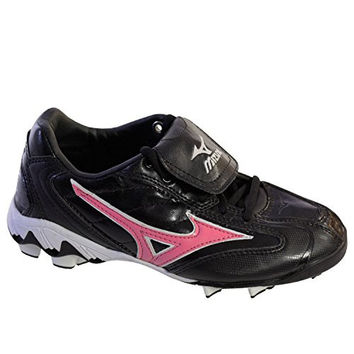 MIZUNO FINCH FRANCHISE 320285 WOMENS SOFTBALL MOLDED CLEATS BLACK PINK 5.5 M