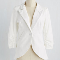 Mid-length Fine and Sandy Blazer in White