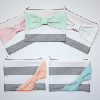 Bridesmaid Gift Set - Choose Bow Style and Colors - Gray Stripes Multi Colored Bows - Custom Cosmetic Cases / Bachelorette Party Favors