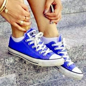 Converse All Star Sneakers canvas shoes for Unisex sports shoes Low-top Sapphire blue