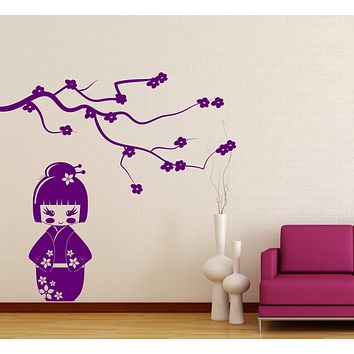 Vinyl Decal Wall Sticker Japanese Geisha Doll Kokeshi Sakura Branch Decor Unique Gift (n808)