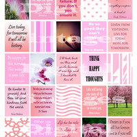 "Pink Planner Stickers Inspiration Quote Life Flowers Happy Inspirational Printable Digital 1.5""x1.9"" erin condren weekly planner Daily Box"