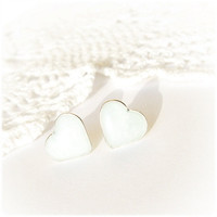 Tiny sparkling ice hearts studs earrings - Valentine Heart jewelry Hypoallergenic