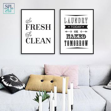 SPLSPL Black and White Laundry Room Wall Art Picture Laundry Sign Canvas Canvas Print Painting Poster Home Decor No Frame
