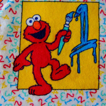 Sesame Street Flannel Fabric Big Bird Elmo Cookie Monster Ernie Cartoon 1234 Fabric Craft Supplies Quilt 2001 Spectrix Muppet Show Caracters