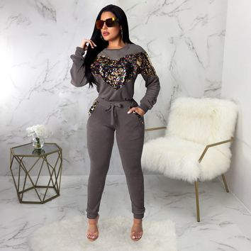 Velvet Sequined Two Piece Set Women Winter Casual Women Tracksuit Female Pollover Tops And Bodycon Pants Set
