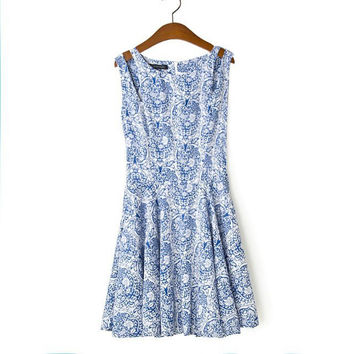 Summer Round-neck Sleeveless Print Strapless Skirt One Piece Dress [4917829636]