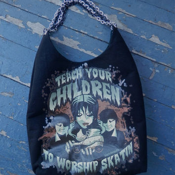Roller Derby Purse Teach Your Children to Worship Skatin Emo Goth