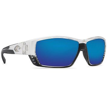 Tuna Alley Shiny Crystal Sunglasses with Blue Mirror 580P Lenses by Costa Del Mar