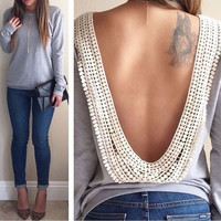 Sexy Backless Shirt Tops Casual Blouses For Women Size S-XXL