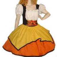 Candy Corn Witch Halloween Costume Dress Large