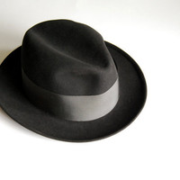 Vintage Mens Fedora Hat Wool Dobbs Black Mad Men by CalloohCallay