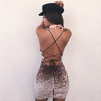 FREE SHIPPING Velvet Spaghetti Strap Tight Backless Bodycon Mini Dress One Piece Dress