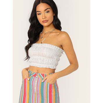 90858bc4011 Ruffle Raw Edge Elastic Smocked Crop Tube Top