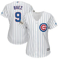 Women's Chicago Cubs Javier Baez Majestic White 2017 Postseason Cool Base Player Jersey
