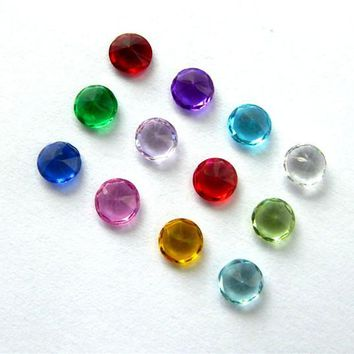 10pcs mix color 4mm round shape birthstone color birth charms floating charm DIY series for memory living locket as kids gift