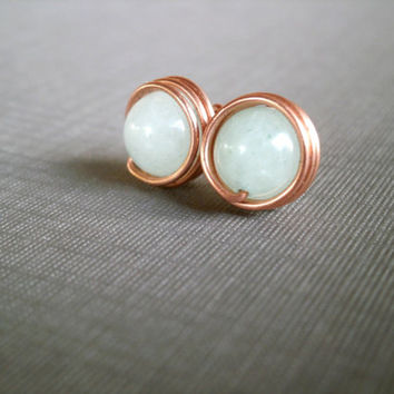 Aquamarine Stud Earrings. Copper Jewelry. Wire Wrapped Jewelry. Aquamarine Gemstone Stud Earrings.
