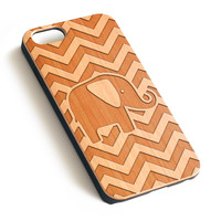 Chevron Elephant Natural wood iPhone case laser engraved iPhone case WA029