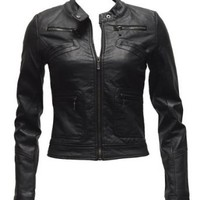 Amazon.com: Ladies Plus Size Black Synthetic Leather Jacket Button Collar: Clothing