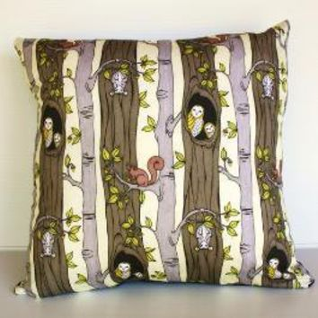 Woodland creatures organic cotton cushion cover on Etsy by mybeardedpigeon
