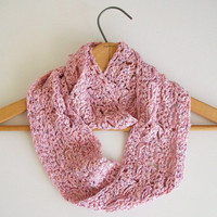 Light Pink Lace Infinity Scarf Knitted Circle Scarf Crochet Looped Scarf Broomstick Lace Romantic Vintage Style