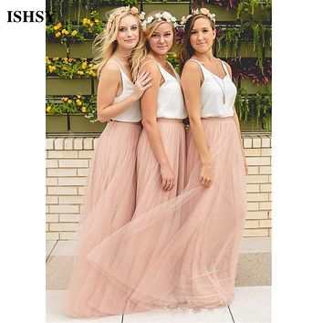 2017 Hot Cheap Bridesmaid Dresses Tulle Skirt Blush Prom Dresses/Bridesmaid Maxi Skirt Party Gowns