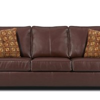 Simmons Upholstery Umber Brown Soft Leather Queen Size Sofa Sleeper