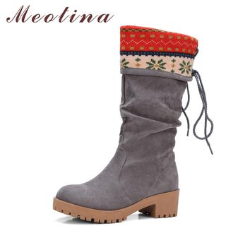 Meotina Women Boots Mid High Heels Women Winter Boots Mid-Calf Boots Block Heels Ladies Shoes Big Size 34-43 Female Autumn Shoes