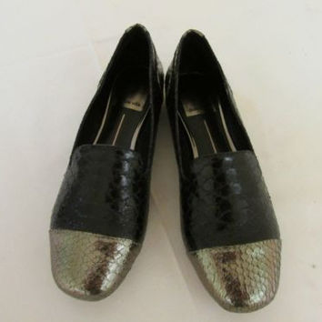 Dolce Vita Cullen Black Snake Skin Two Tone Loafers Women's 6 M