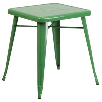 Tolix Style 24'' Square Green Metal Indoor-Outdoor Table
