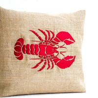 Sea pillow- Embroidered lobster pillow- Burlap pillow- Red lobster throw pillow cushion- 16x16- Gift- Bedding- Red cushion- Oceanic pillow