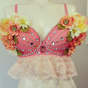 Bohemian Rave Bra, Floral Peach Bra Custom Event Outfit Crystal Chain, Rhinestones and Lace