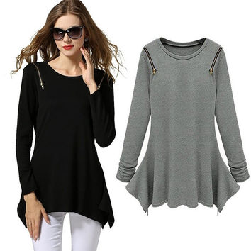 Women Fashion Irregular Hem Zipper Shoulder Crew Neck Peplum Slim Tops Blouse 2 Colors ( Black and Grey) = 1667505220