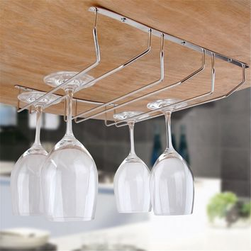Kitchen Bar Wine Glass Rack Holder Under Cabinet Stemware Hanger Shelf  Cup Wine Glasses Storage Shelf Organizer Accessories
