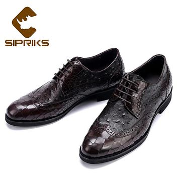 Sipriks Embossed Leather Shoes For Men Crocodile Skin Leather Shoes Black Ostrich Mens Shoes Alligator Leather Brogue Shoes 2017