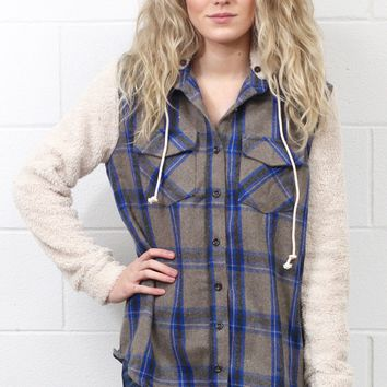 Lumberjack Flannel + Plush Sleeve Jacket {Blue}