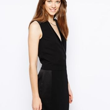 Warehouse Tuxedo Style Dress - Black
