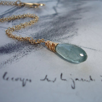 Moss Aquamarine Briolette Gold Necklace, Solitaire, Minimalist