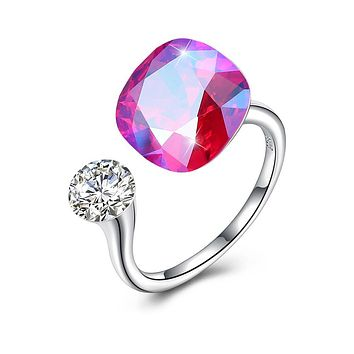 Pink Sapphire Halo Cut Adjustble White Gold Ring 925 Sterling Silver Unique Casual Rings