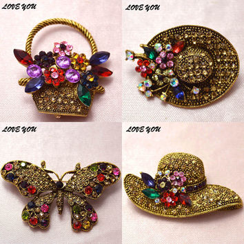 6 styles for choose vintage rhinestone peacock hat brooch antique gold plated pins and brooches fashion bohe accessories