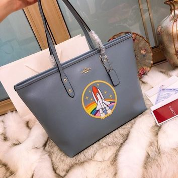 Coach Blue Leather Tote #548