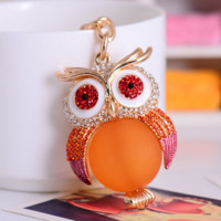 New Creative Lucky Crystal Owl Key Chains Ring Mobile Phone Tag Vogue String Car/Bag Decor Gift