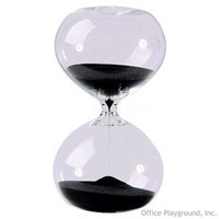 Hourglass Sand Timer - 30 Minute Glass, Black Sand | Sand Timers and Hourglasses